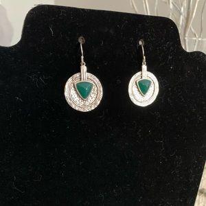 Silpada Natural Green Stone Medallion Earrings